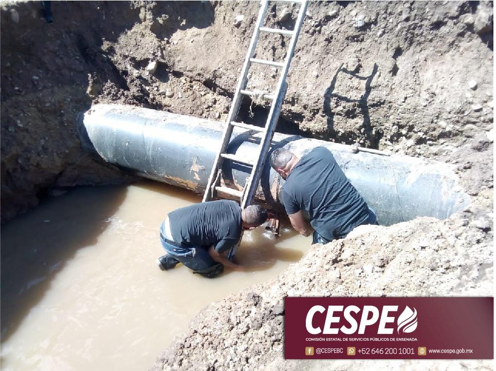Reparación de fuga intensa en el Acueducto Morelos genera interrupción del servicio en varias colonias de Ensenada.