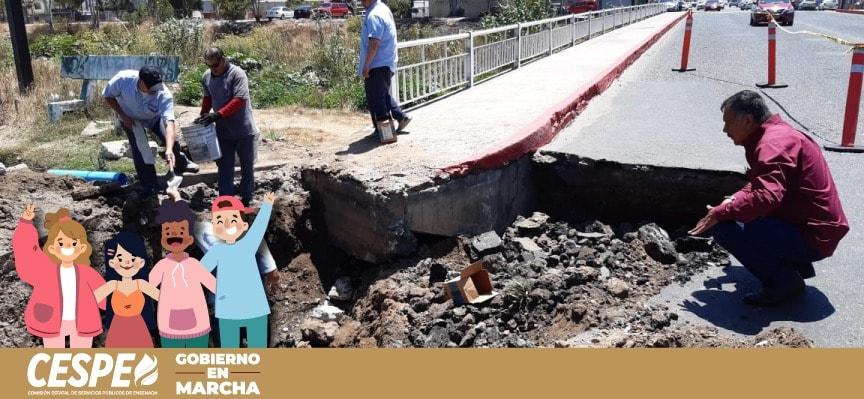 Reacción inmediata a la reparación de socavones, garantiza el Director General de la CESPE Ing. Marcelino Márquez Wong.